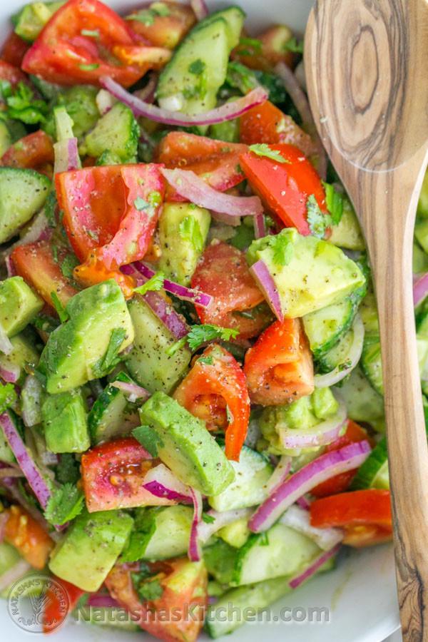 Healthy Side Salads  Cucumber Tomato Avocado Salad Beyond The Basics Health