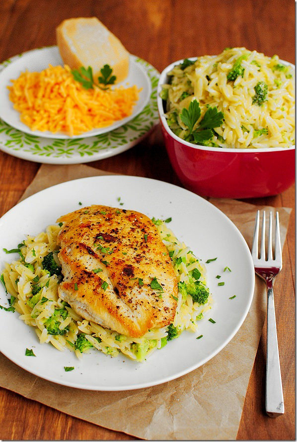 Healthy Sides For Baked Chicken  Cheesy Broccoli Orzo Iowa Girl Eats