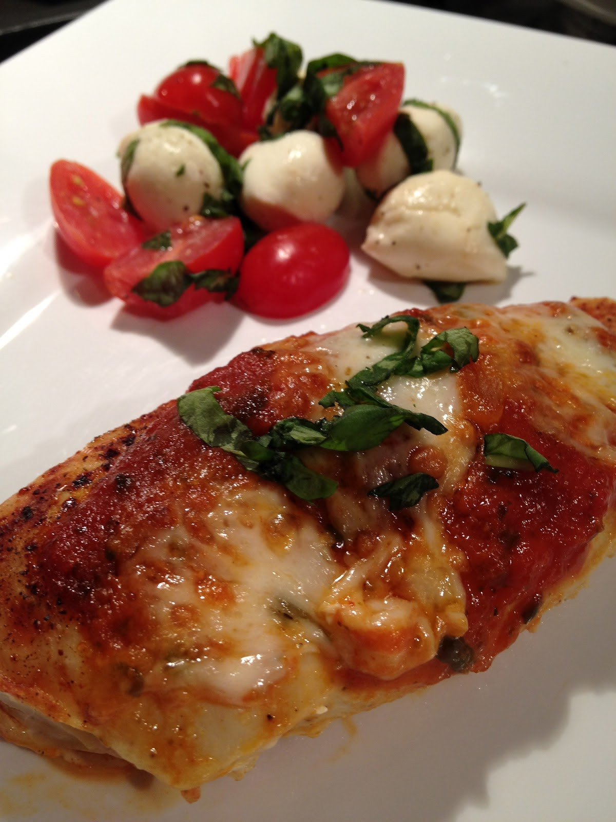 Healthy Sides For Baked Chicken  half tomato half potato Healthy Chicken Parmesan & Side