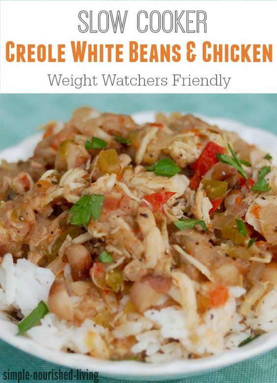 Healthy Slow Cooker Chicken Recipes For Weight Loss  Skinny Slow Cooker Creole White Beans with Chicken