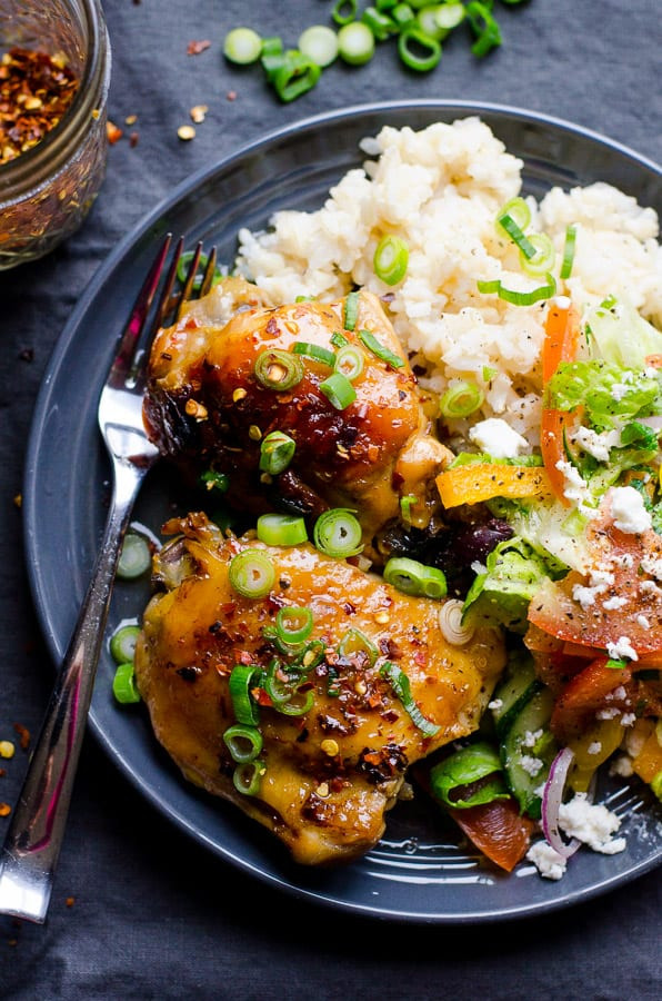 Healthy Slow Cooker Chicken Thighs  Slow Cooker Thai Chicken Thighs iFOODreal Healthy