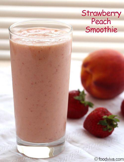 Healthy Smoothie Recipes With Yogurt  Strawberry peach smoothie Peach smoothie recipes and