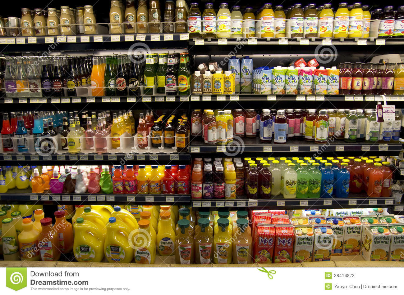 Healthy Smoothies To Buy At The Grocery Store  Cold Healthy Drinks Supermarket Shelves Editorial Stock