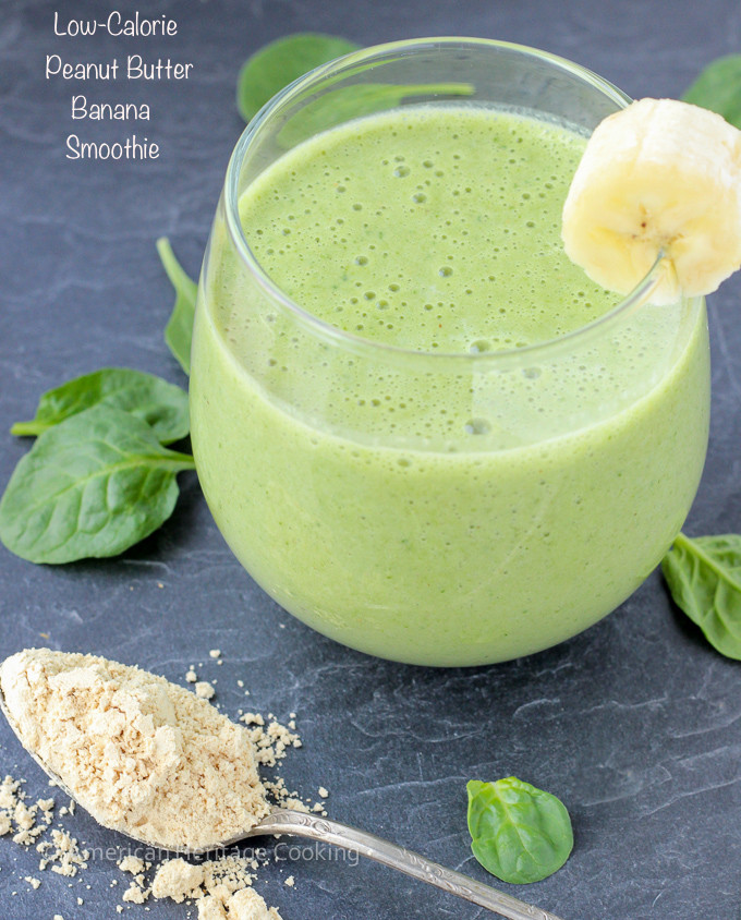 Healthy Smoothies With Spinach  Low Calorie Peanut Butter Banana Spinach Smoothie