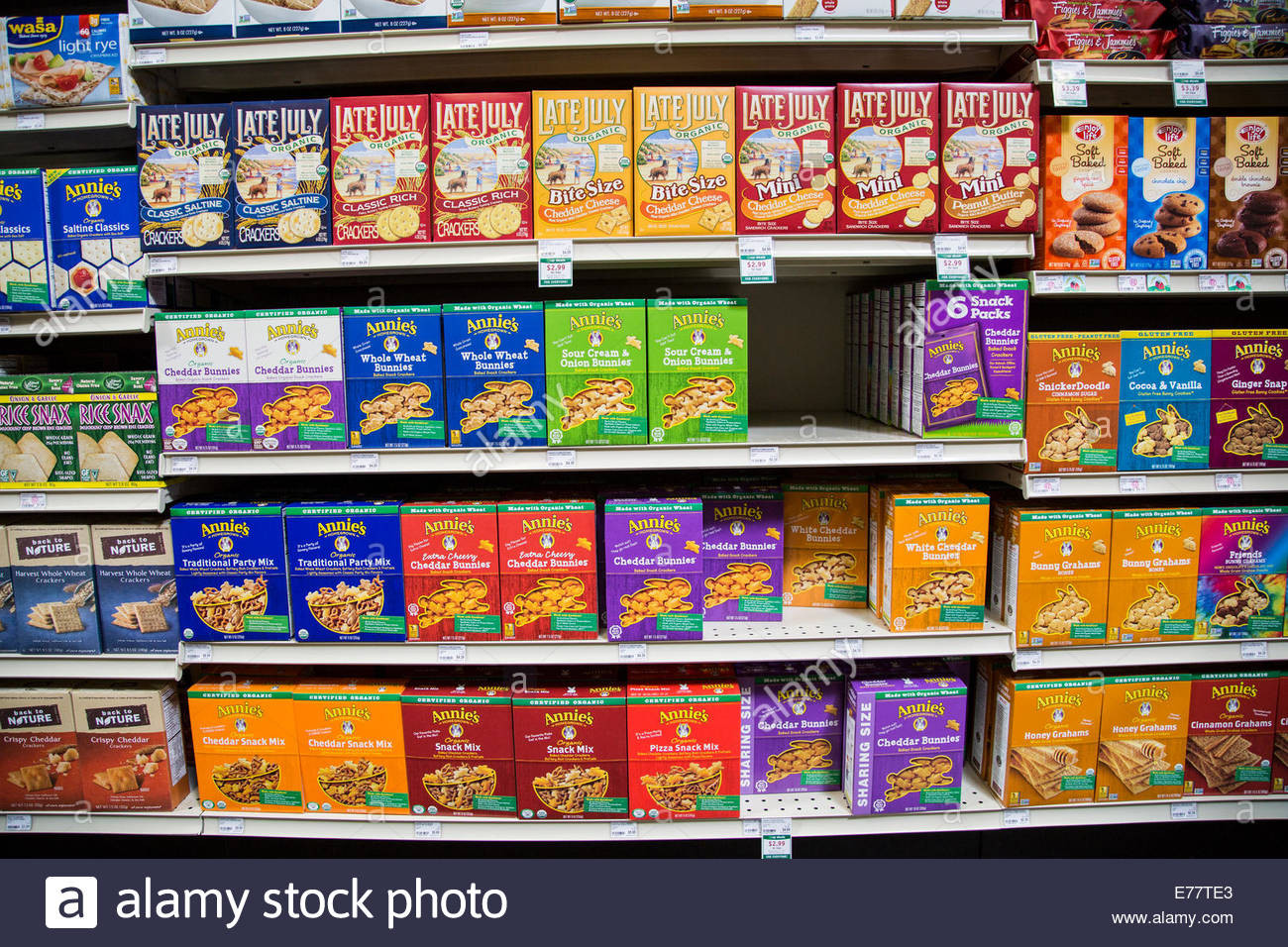 Healthy Snacks At Grocery Store  A natural foods grocery store aisle with shelves of