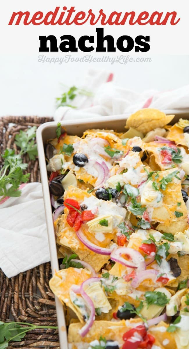 Healthy Snacks For Game Night  Mediterranean Nachos from The Weeknight Dinner Cookbook