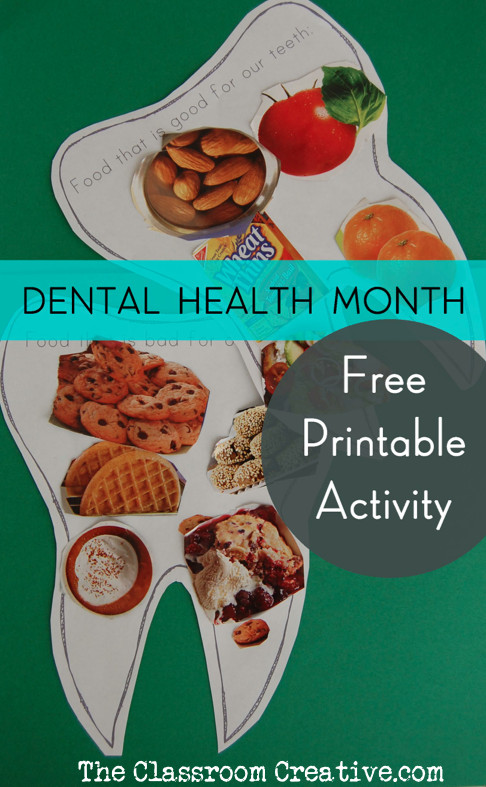 Healthy Snacks For Teeth  Free Printable Dental Health Month Activity for Kids