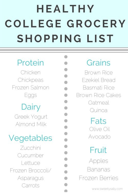 Healthy Snacks Grocery List  Healthy Grocery List College Students