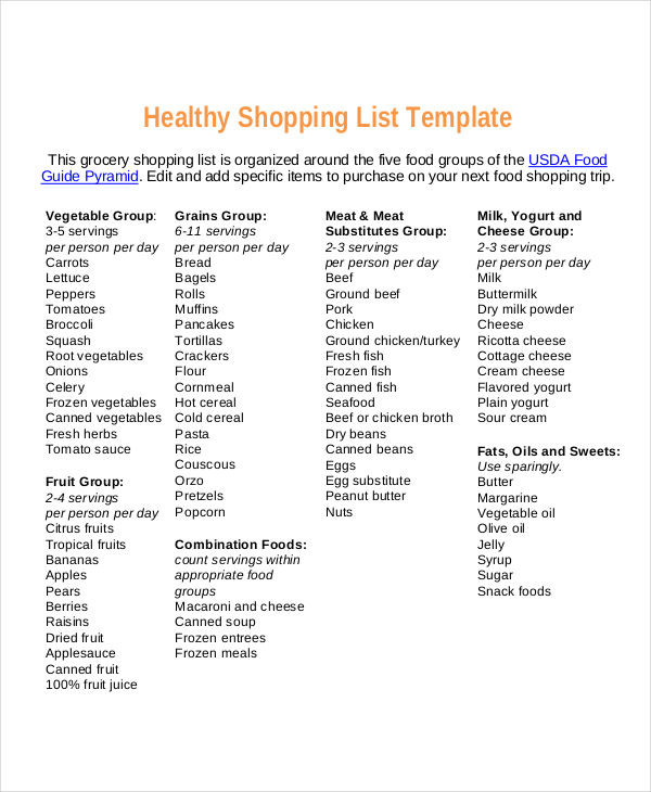 Healthy Snacks Grocery List  9 Food Shopping List Templates Free Samples Examples