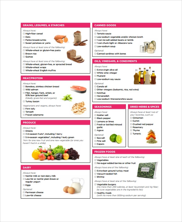 Healthy Snacks Grocery List  21 Sample Grocery List Templates