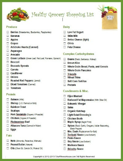 Healthy Snacks Grocery List  Printable Workout Routines and Healthy Lifestyle Charts
