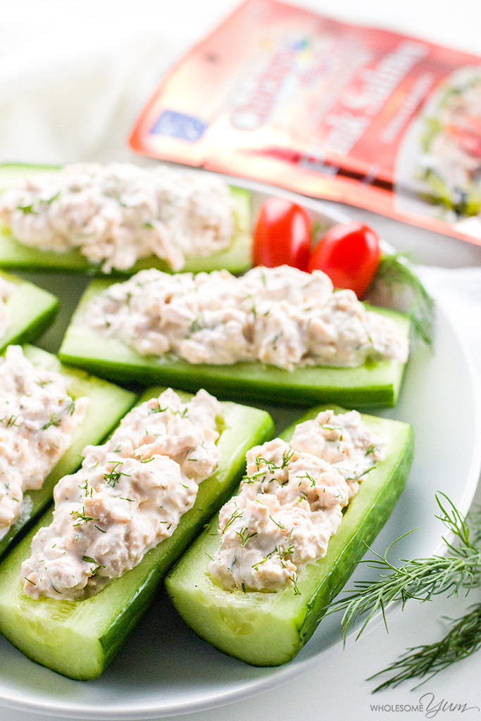 Healthy Snacks With Cream Cheese  Salmon Stuffed Cucumbers Appetizers With Cream Cheese