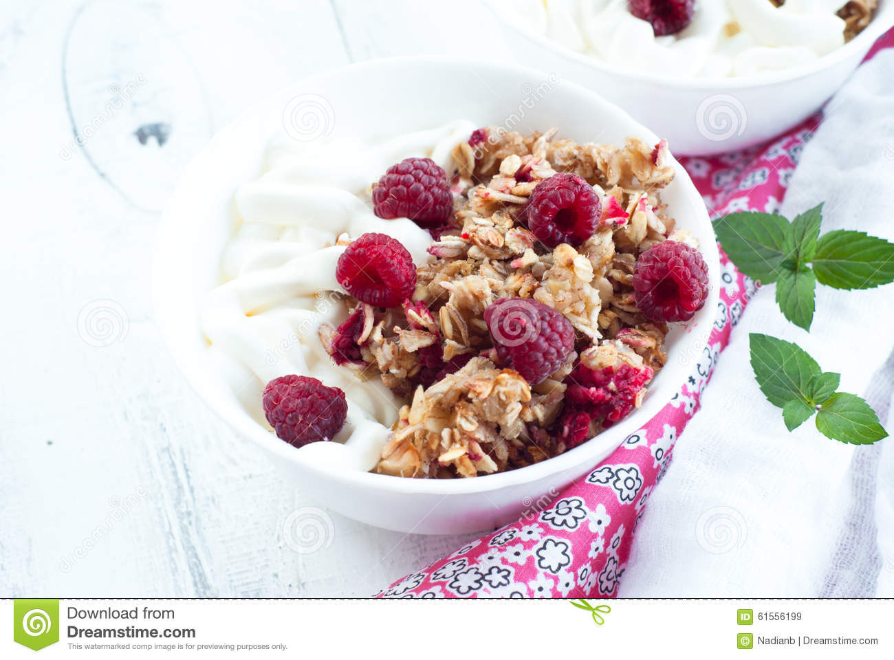 Healthy Snacks With Cream Cheese  Healthy Snack With Sour Cream And Granola Stock