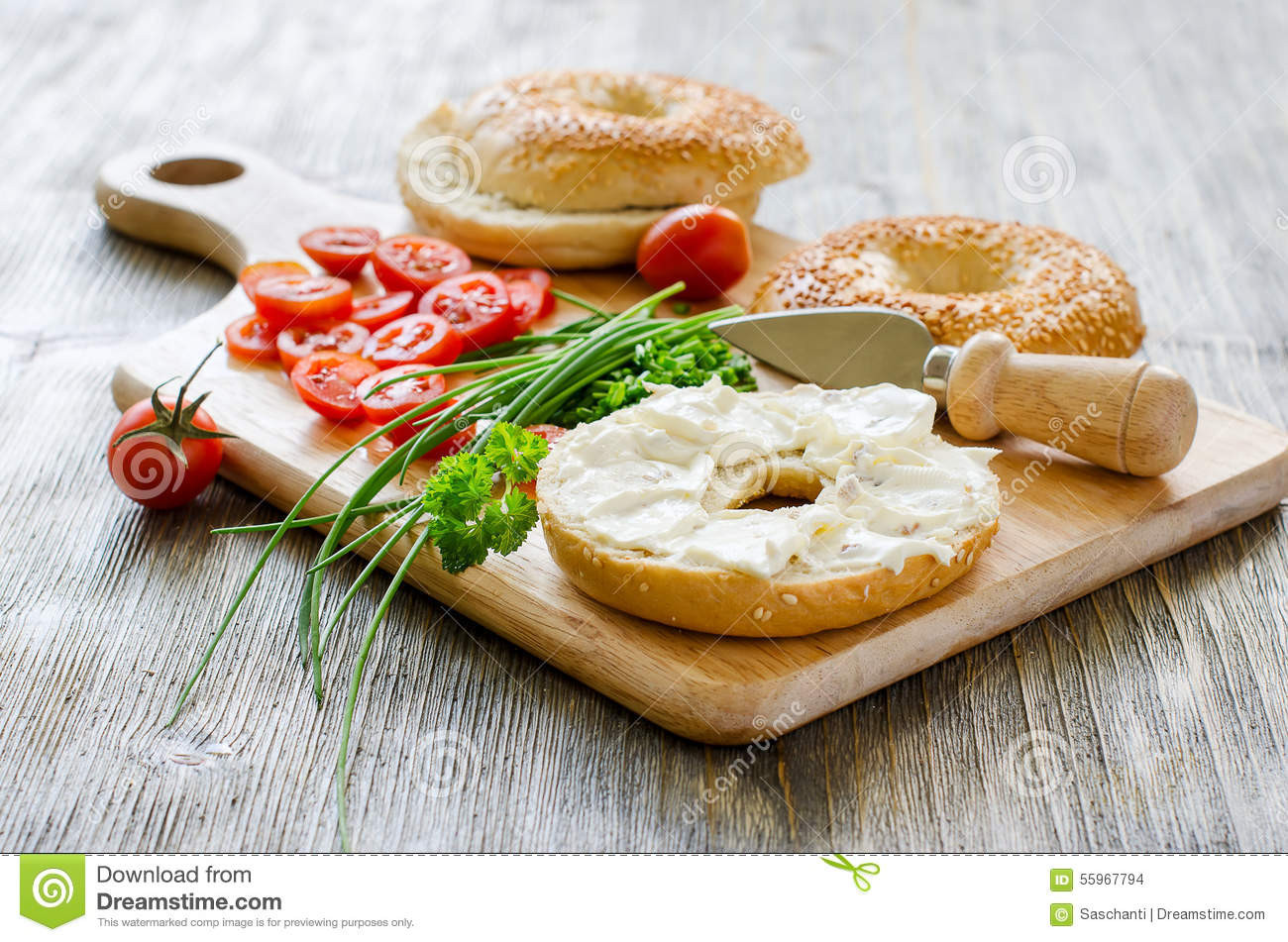 Healthy Snacks With Cream Cheese  Bagels Wtih Cream Cheese Tomatoes And Chives For Healthy