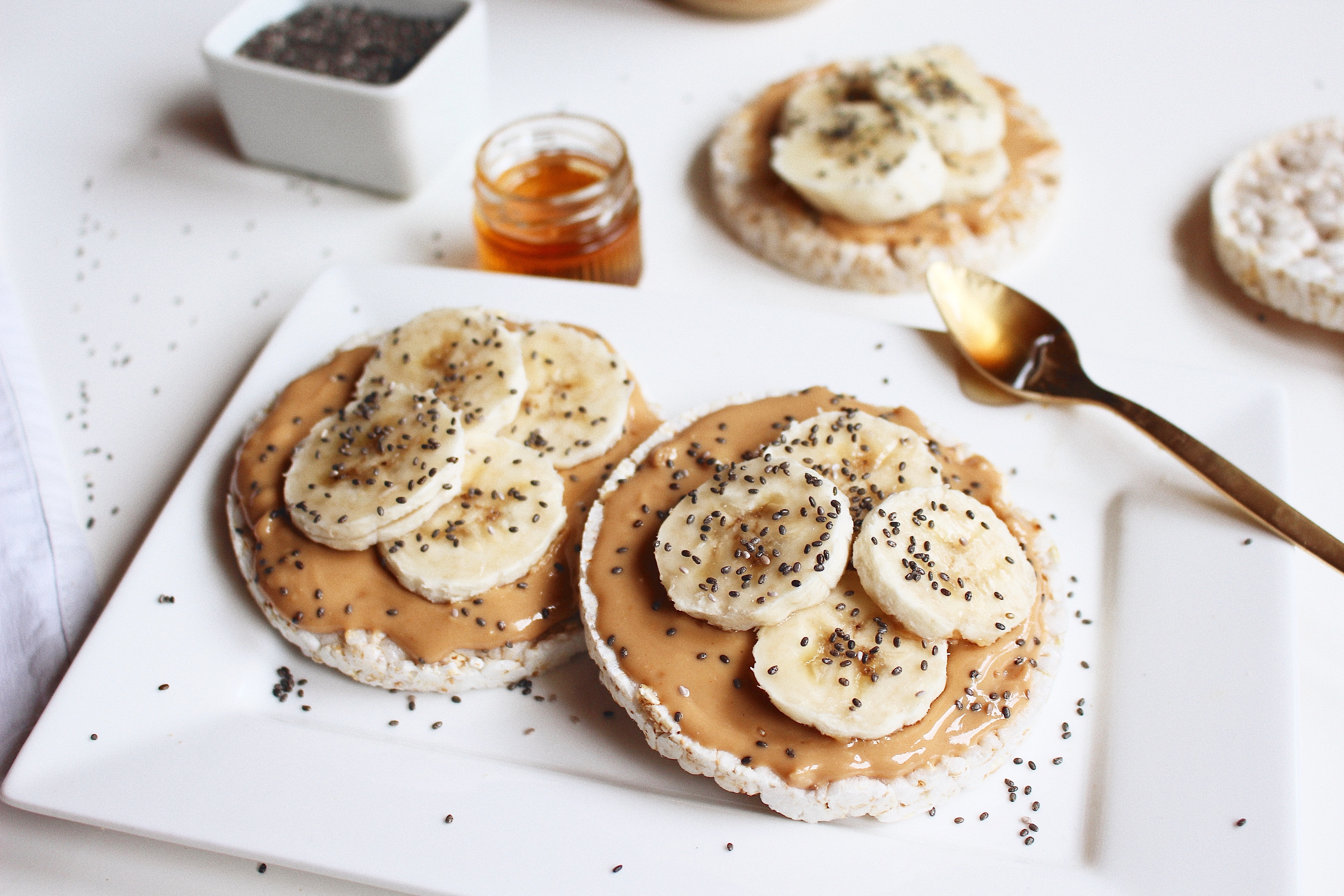 Healthy Snacks With Peanut Butter  Healthy snack Rice cake with peanut butter & banana