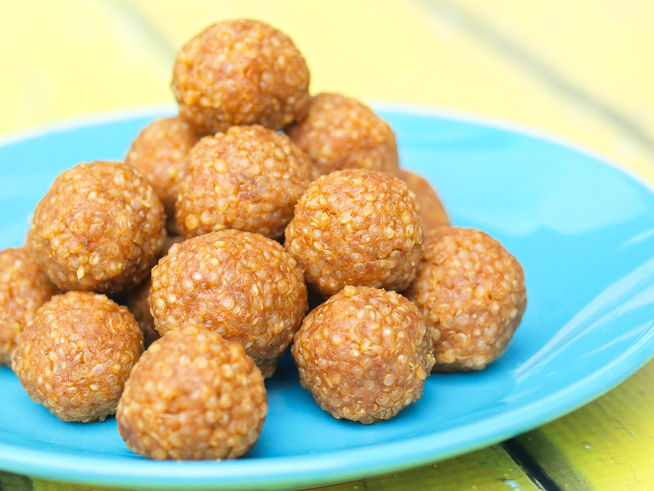 Healthy Snacks With Peanut Butter  Look Again Quinoa Peanut Butter Snack Balls Happy