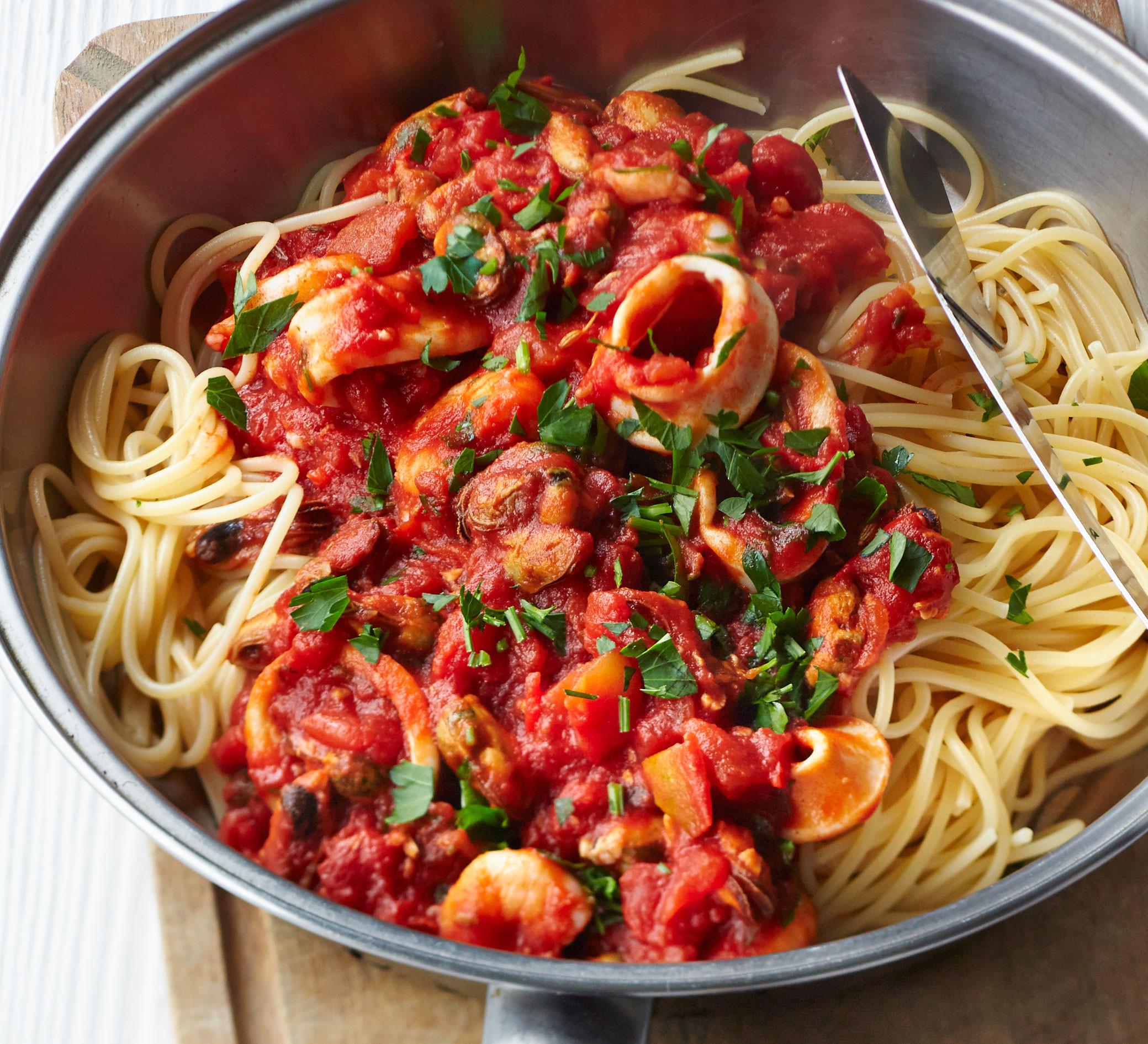 Healthy Spaghetti Sauce Recipe  Spaghetti with smoky tomato & seafood sauce recipe
