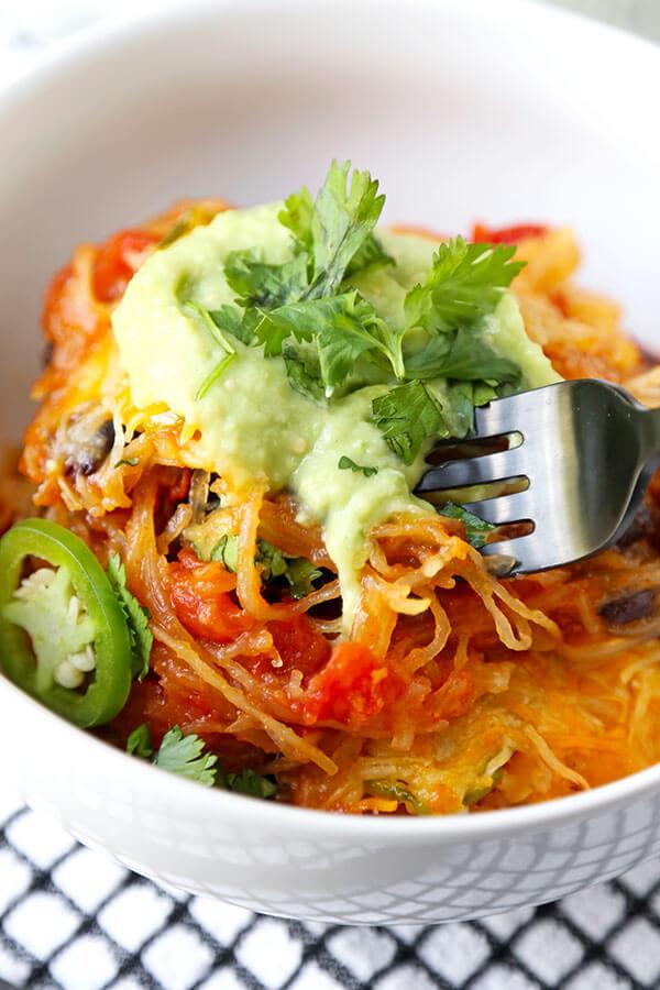 Healthy Spaghetti Squash Casserole  Mexican Spaghetti Squash Casserole With Avocado Salsa