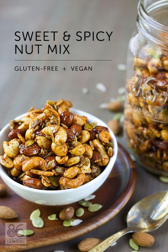 Healthy Spicy Snacks  Sweet & Spicy Nut Mix vegan gf