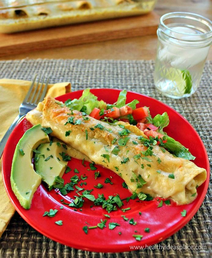 Healthy Spinach Enchiladas  Chicken and Spinach Enchiladas