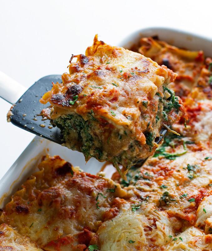 Healthy Spinach Lasagna  Skinny Mushroom Spinach Lasagna Recipe