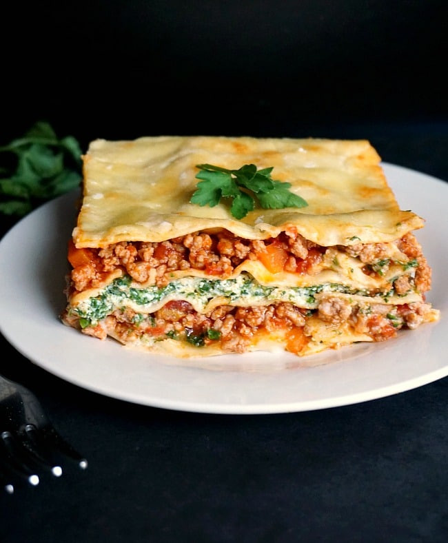Healthy Spinach Lasagna  Healthy Turkey Lasagna with Spinach and Ricotta My