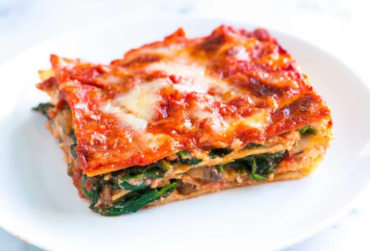 Healthy Spinach Lasagna  Healthier Spinach Lasagna Recipe with Mushrooms
