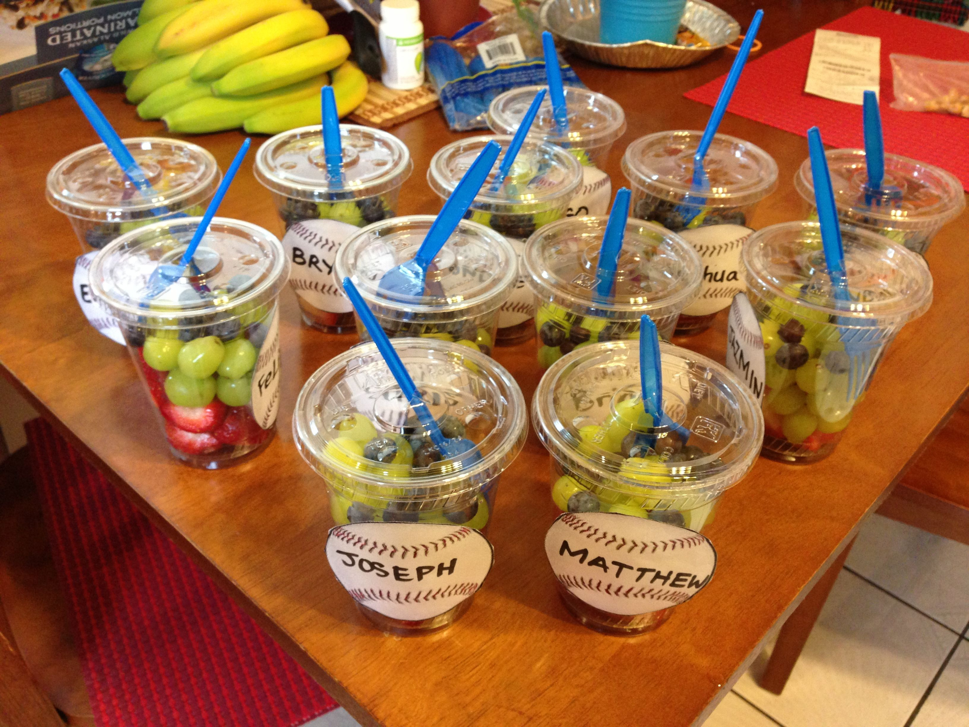 Healthy Sports Snacks  Baseball themed Fruit Cups for snacks after a game
