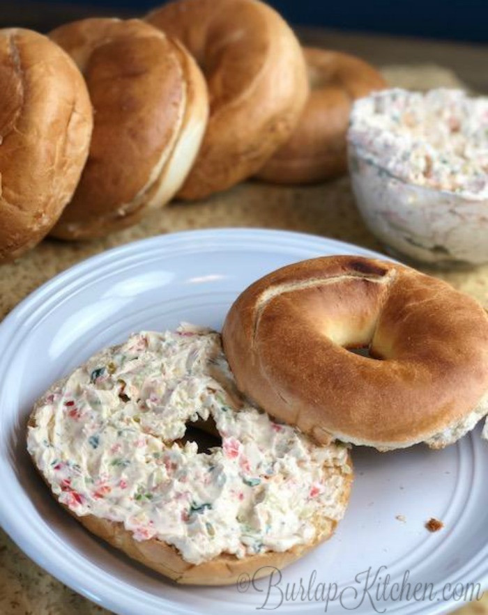 Healthy Spreads For Bagels  Cream Cheese Garlic & Veggie Bagel Spread Burlapkitchen