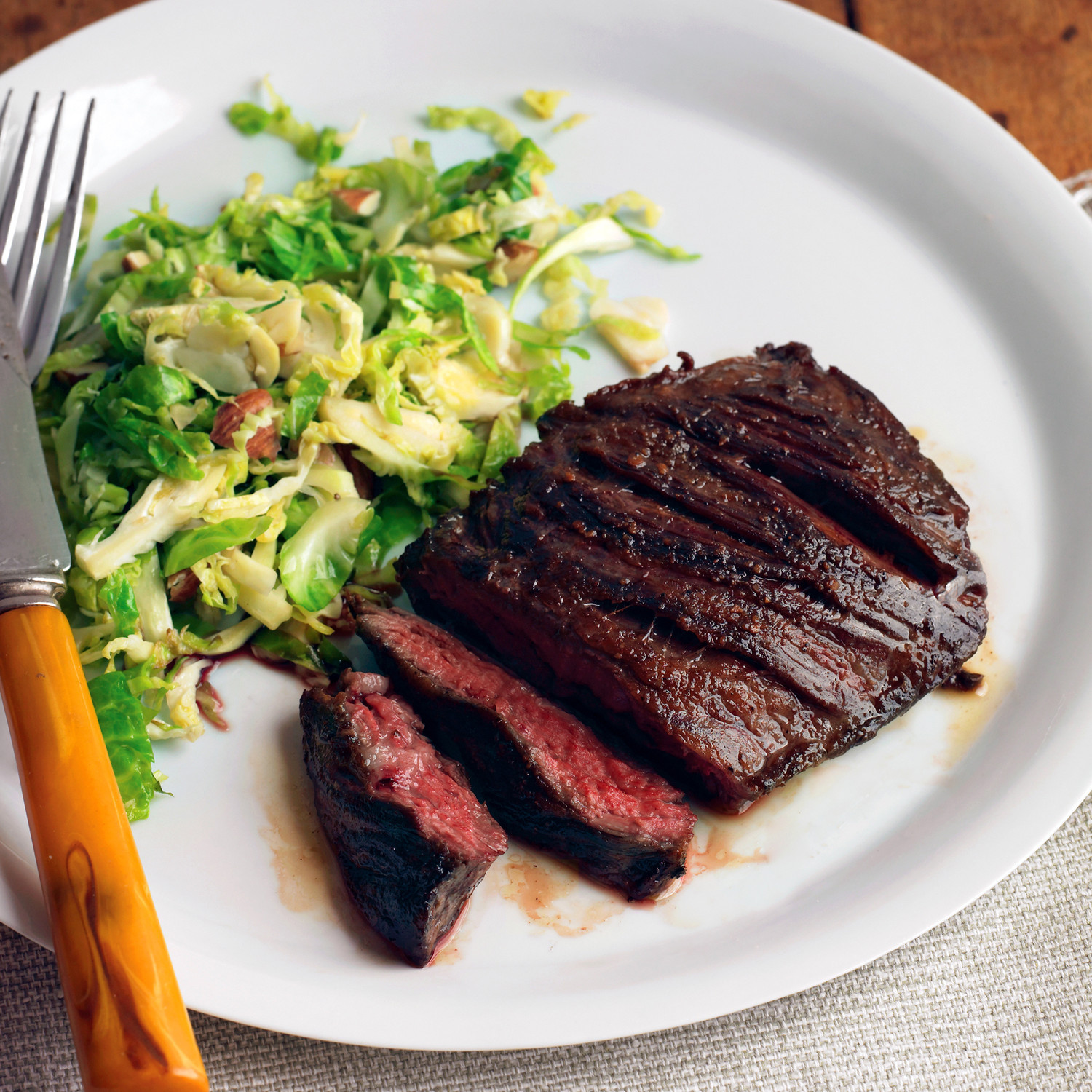 Healthy Steak Dinner  Seared Steak with Brussels Sprouts and Almonds