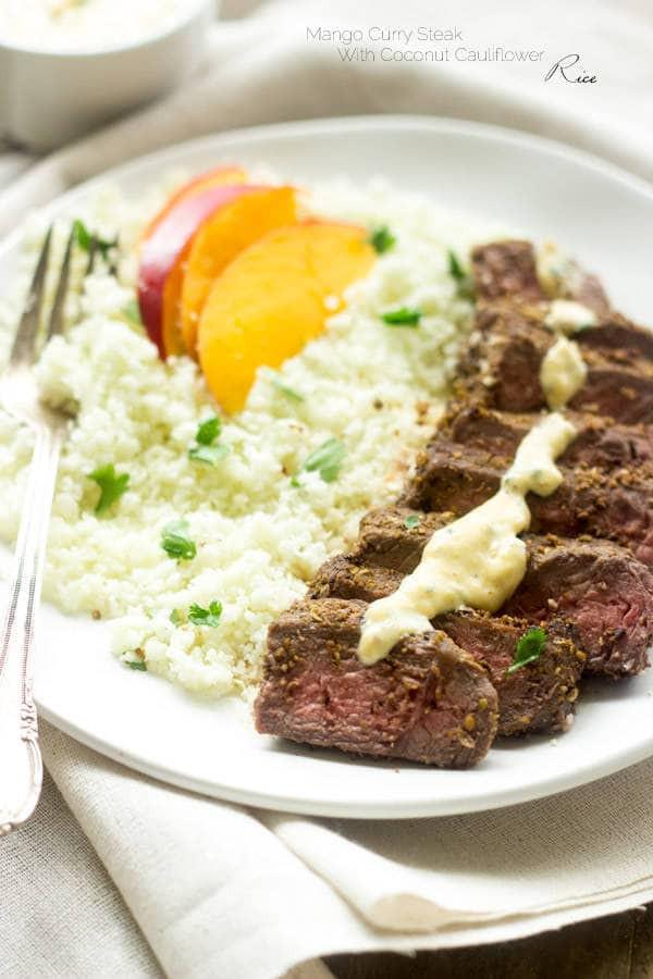 Healthy Steak Dinner  Cauliflower Rice Recipe with Mango Curry Steak Food