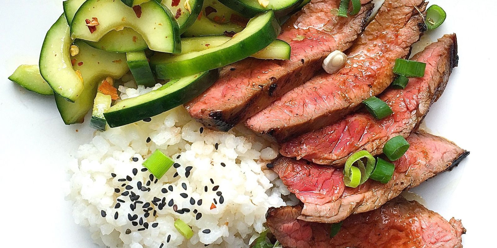Healthy Steak Dinner  Best Korean Style Grilled Flank Steak with Sticky Rice and