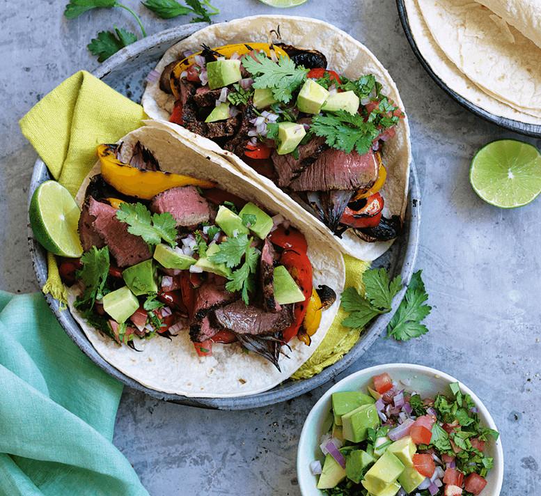 Healthy Steak Fajitas  Smoky beef fajitas with avocado salsa Healthy Food Guide