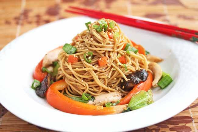 Healthy Stir Fry Noodles  Stir Fry Noodles with Chicken Shitake Mushrooms and
