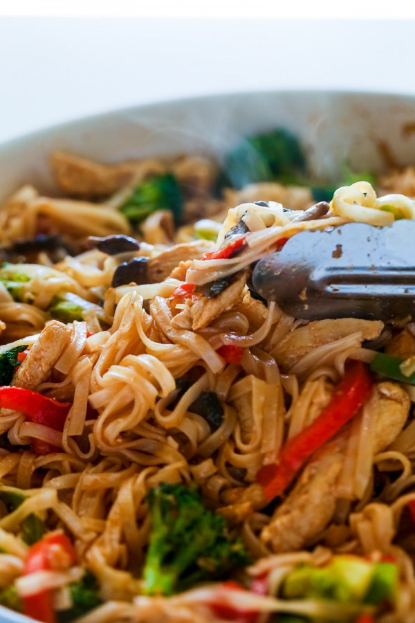 Healthy Stir Fry Noodles  Chicken Stir Fry with Rice Noodles 30 minute meal