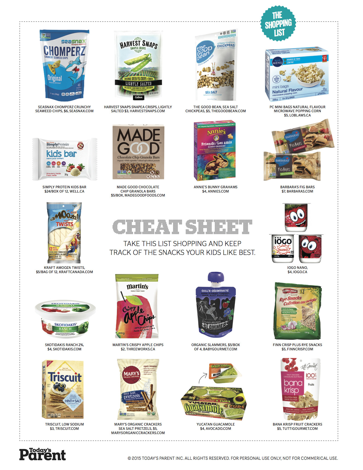 Healthy Store Bought Snacks For Kids  Print this Healthy store bought snacks shopping list