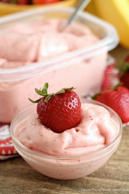Healthy Strawberry Dessert Recipes  Healthy Instant Strawberry Banana Frozen Yogurt