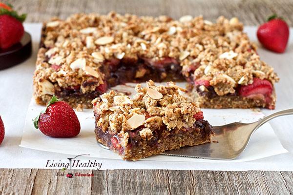 Healthy Strawberry Dessert Recipes  Chocolate Strawberry Crumble Bars paleo grain free