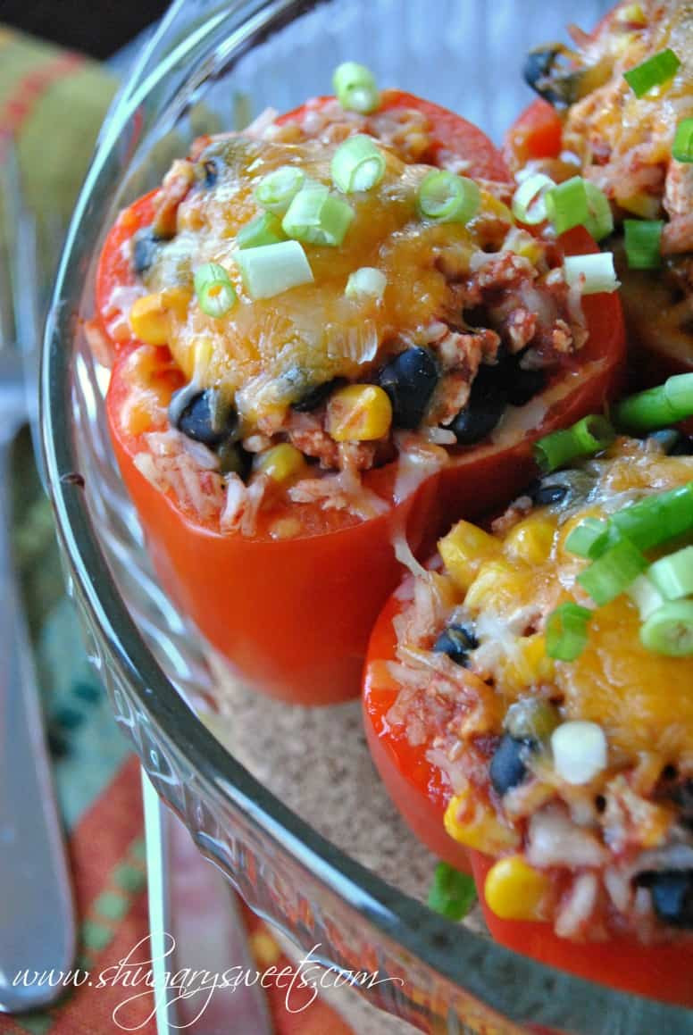 Healthy Stuffed Peppers With Ground Turkey  Santa Fe Stuffed Peppers Shugary Sweets
