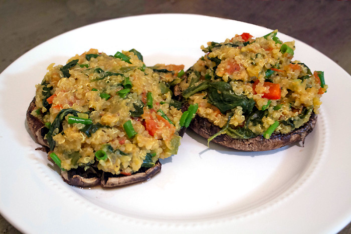 Healthy Stuffed Portobello Mushrooms  Healthy Dinner Vegan Quinoa Stuffed Portobello Mushrooms