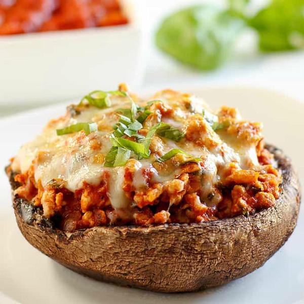 Healthy Stuffed Portobello Mushrooms  Simple Low Carb Ground Turkey Recipes
