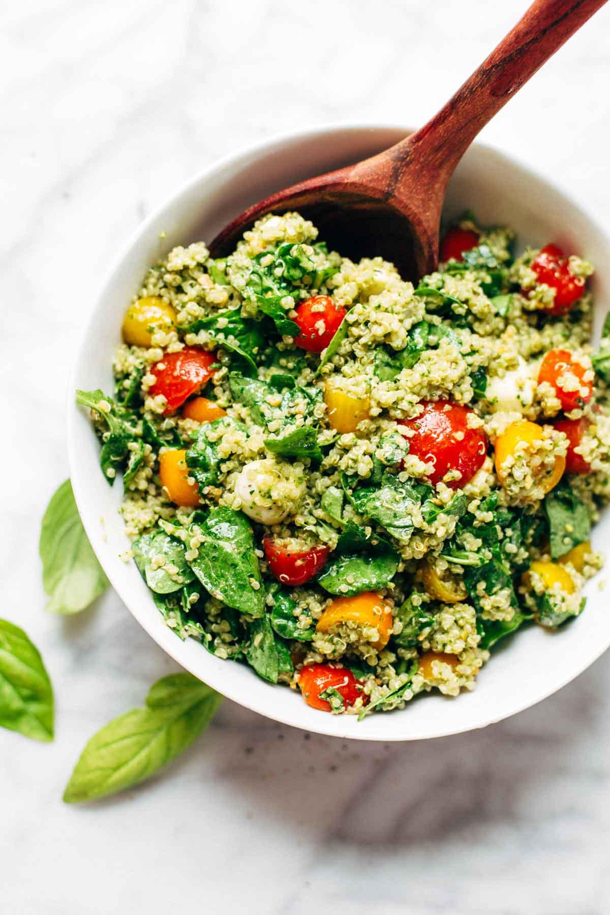 Healthy Summer Vegetarian Recipes  Green Goddess Quinoa Summer Salad Recipe Pinch of Yum