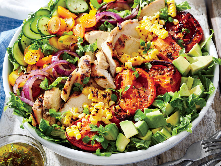 Healthy Summer Vegetarian Recipes  Grilled Chicken and Ve able Summer Salad Recipe