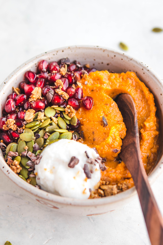 Healthy Sweet Breakfast  Fluffy Sweet Potato Breakfast Bowls Vegan & Grain Free
