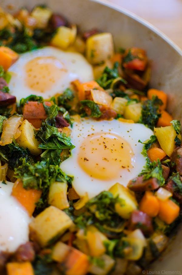 Healthy Sweet Breakfast  Kale and Sweet Potato Hash with Chorizo — Living Lou