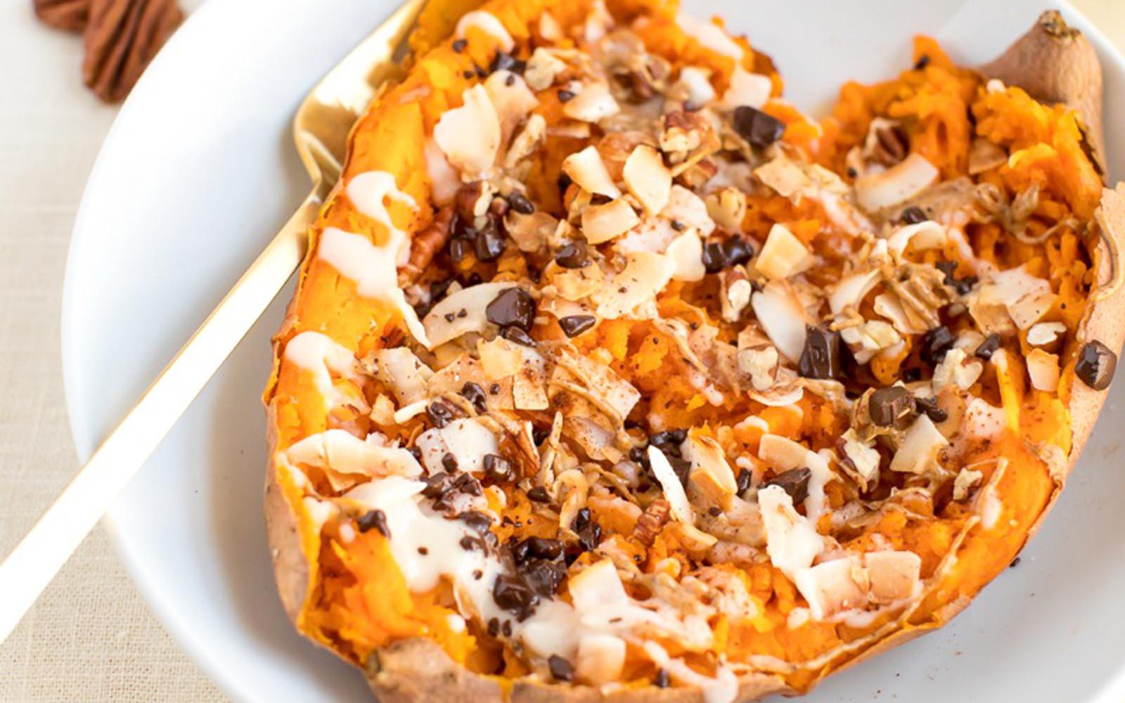 Healthy Sweet Potato Dessert  Healthy Dessert Baked Sweet Potato [Vegan] e Green