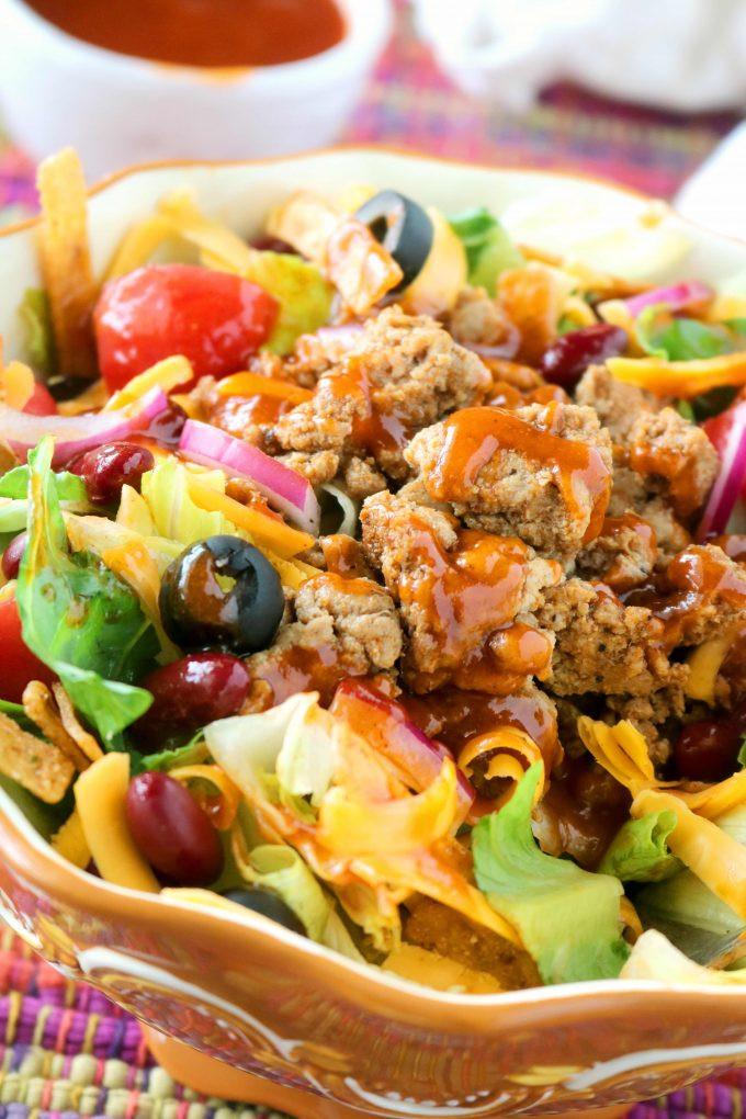 Healthy Taco Salad With Ground Turkey  Healthy Taco Salad with Ground Turkey and Catalina Dressing