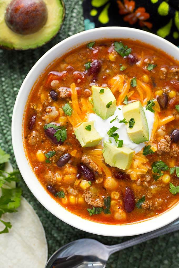 Healthy Taco Soup With Ground Beef  Instant Pot Taco Soup