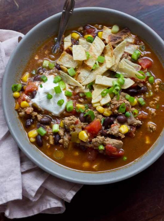 Healthy Taco Soup With Ground Beef  Turkey Taco Soup Quick and Easy Dinner