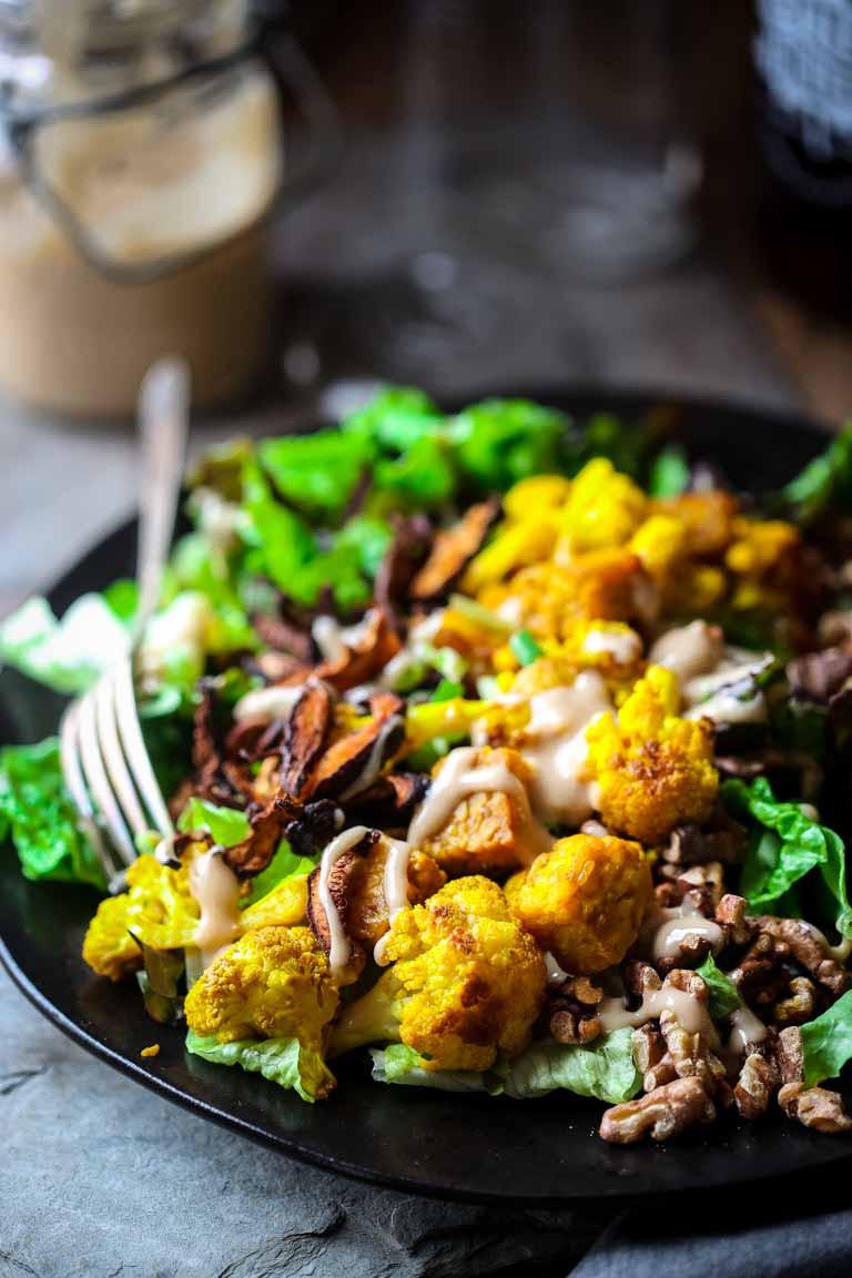 Healthy Tempeh Recipes  turmeric roasted cauliflower and tempeh power salad vegan